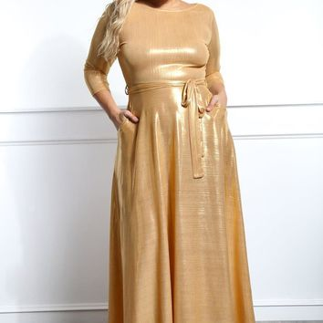 Gold Member Shinning Holiday Plus Size Maxi Dress