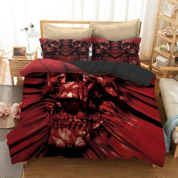 3pcs skull Bedding Set Bohemian skull Print Duvet Cover set with pillowcase