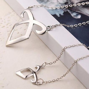 big 49mm Movie Film Jewelry City of Bones Necklace Angelic Forces Collar The Mortal Instruments Angelic Power Runes Pendant Angels force