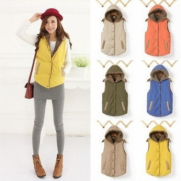 2015 New Women's Fashion  Winter and  Spring  Plus Size Slim Jacket Hoodie Vest Coat Waistcoat VVF = 1931865668