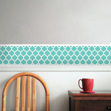 Lattice, Moroccan Design Pattern Room Border -Removable, Repositionable Decal -Easy Application / Removal, Teal, Turquoise, CUSTOM COLOR!
