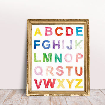 Alphabet Art 16 X 20 Printed Watercolor Poster