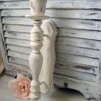 Shabby Chic White Painted Vintage Candle Wall Sconce, Antique White Candle Holder, Beach Cottage Wall Decor, Up Cycled