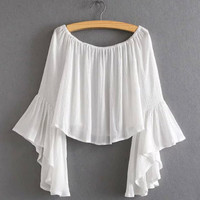 Off-Shoulder Flare Sleeve Loose Crop Top