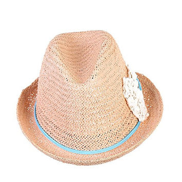 Generic Hollow Straw Roll-up Brim Floppy Crochet Bowknot Sunscreen Beach Sun Hat