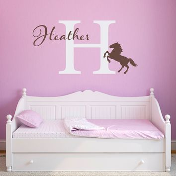Horse Wall Decal - Personalized Girl Decal - Girl Horse Bedroom Decor - Large