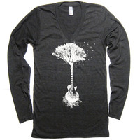 Unisex Guitar Tree of Life - American Apparel Tri Blend V Neck Long Sleeve Tshirt - XS S M L XL (3 Color Options)