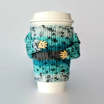 Coffee cozy. Travel mug sleeve. Coffee warmer. Tea warmer. Turquoise gray teal. Valentine's gift for him. Mug warmer. Starbucks cup sleeve