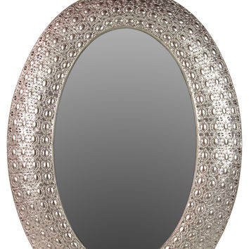 Truly Precious & Magnificent Oval Shaped Metal Mirror W/ Stunning Design In Silver