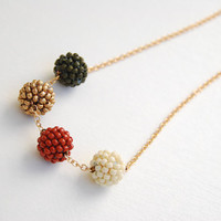 Beaded beads pendant necklace earth colors