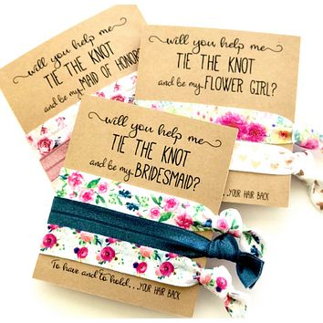 Bridesmaid Proposal Gift | Will you help me tie the knot | Elastic hair tie favor | To have and to hold | Maid of Honor | Flower Girl