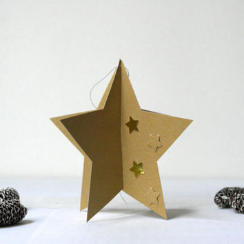 Golden Star -  3D Assemble Ornament Christmas Card - Original Handmade Unique Special Cute Sweet Greeting Card
