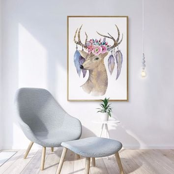 FUNIQUE Scandinavian Modern Simple Picture Frame Painted Heart Fresh Flower Elk Head Home Decoration Oil Painting Living Room