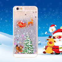 "Newest Gift Cute Christmas Trees Glitter Star Liquid Covers For iphone 6 Case 4.7"" Transparent Clear Phone Cases For iphone6 i6"