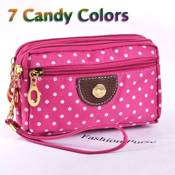 7 Candy Colors 4 Zippers Small Women Wallet Cloth Fabric Ladies Lovely Dots Coin Purse female Money Keys Cards Waist Hand Bag = 1958731140
