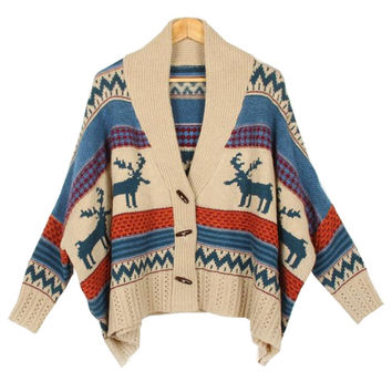 Ethnic Patterned Cardigan Fall Retro Bohemian Woman Knitting Wool Sweater Knit Cardigan Poncho Crocheted Deer Women's Clothing