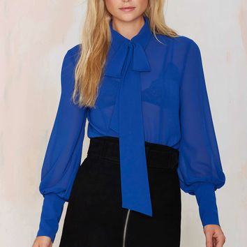 Nasty Gal Mademoiselle Pussy Bow Blouse - Blue