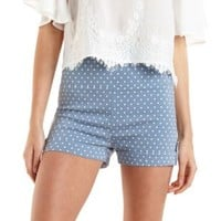 Lt Blue Combo High-Waisted Polka Dot Shorts by Charlotte Russe