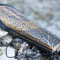 Medieval Elven Archery Bracer Arm Guard etched lightweight armor leather and metal