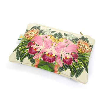 Leather Clutch bag, Makeup Bag, Travel bag, Evening bag - Tropical bloom