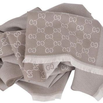 CREYON Gucci Men's Wool Taupe Beige GG Guccissima Reversible Scarf