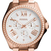Women's Fossil 'Cecile' Crystal Bezel Chronograph Bracelet Watch, 40mm - Rose Gold (Nordstrom Exclusive)