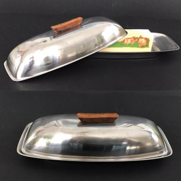 Mid Century Butter Dish with Lid Stainless Steel Danish Modern Vintage Kitchen Butter Keeper Covered Butter Dish
