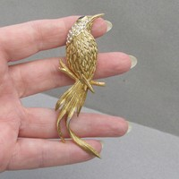 Big Signed Edgar BEREBI Rhinestone Bird of Paradise Vintage Pin
