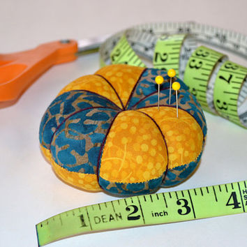 GOLD N TURQ Tomato Pincushion, flower pincushion, Fabric, Pins, Sewing accessory, Quilting, Embroidery, Valentine's Day gift