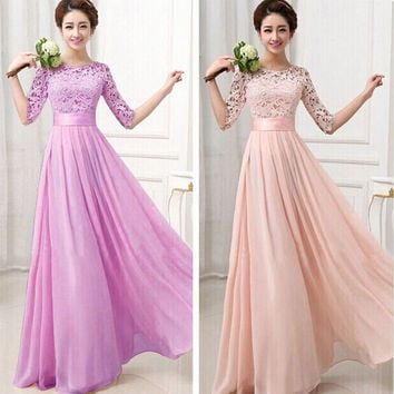 New Pluz Size Autumn Women Maxi Long Chiffon Dress Half Sleeve Lace Maxi Dresses Formal Wedding Party Dress For Bridesmaid wear