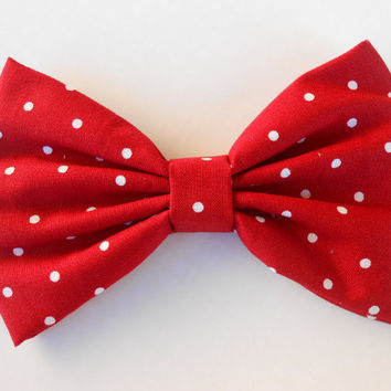 Red White  Small Polka Dots Hair Bow  Fabric by TitasHidingPlace