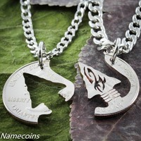 Indian Jewelry, Arrowhead Necklaces, Hand Cut Quarter
