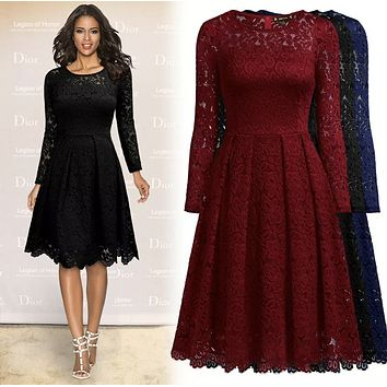 Long Sleeve Lace Formal Dress, Sizes Small - 2XLarge