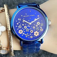 MK Michael Kors Fashion Women Men Quartz Movement Business Wristwatch Watch Blue I-Fushida-8899