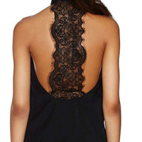 Lace Patchowork Halter Neck Tank Top B008016