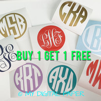 "BOGO Monogram Sticker - Laptop Decal - 3"" Vinyl Personalized Monogram Decal Stickers - CHOOSE Style & Color - Buy 1 Get 1 FREE"