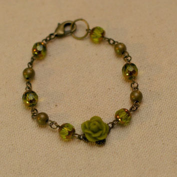 Antique-Style Green Rose Bracelet - Brass & Faceted Green Beaded Bracelet w/ Green Rose Accent