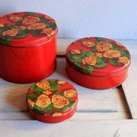 vintage tins round metal cookie sewing tins // roses flowers floral // olive can co.