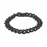 Black Ion-Plated Stainless Steel Curb Chain Bracelet - Men