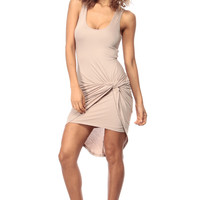 Tan Knotted Sleeveless Body Con Dress