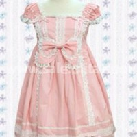 Pink Cap Sleeves Bow Lace Cotton Sweet Lolita Dress - SaleLoLita.com