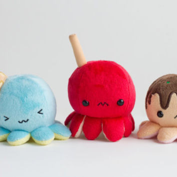 Octo-Trio of Melty [Ice-cream], Red [Festival Grilled Octopus on a stick], and Ko [Takoyaki] Keychains/Plush Toys