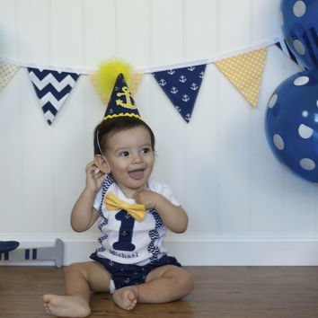 Nautical first birthday outfit set  anchor first birthday outfit  anchor cake smash outfit - nautical cake smash outfit - anchor cake smash