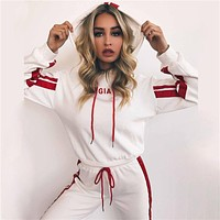 Women Casual Letter Embroidery Long Sleeve Hooded Sweater Trousers Set Two-Piece Sportswear