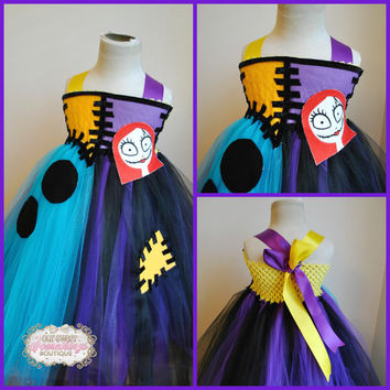 Sally Inspired Nightmare Before Christmas Tulle Tutu Dress Costume Infant to Girls