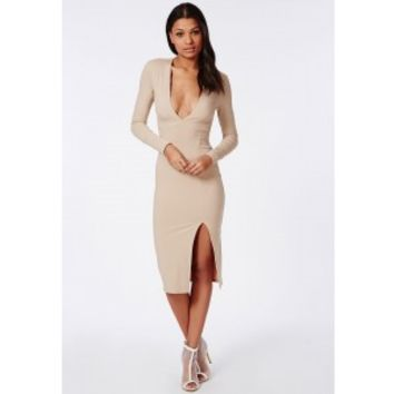 Missguided - Ribbed Side Split Midi Dress Camel
