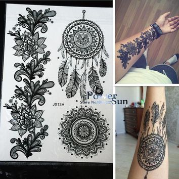 ac DCCKO2Q 1PC Hot Dreamcatcher Large Indian Sun Flower Henna Temporary Tattoo Black Mehndi Feather Style Waterproof Tattoo Sticker PBJ013A