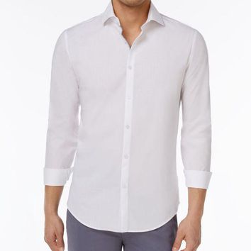 Calvin Klein Men's Slim Fit Dobby Cotton Shirt (xl White)