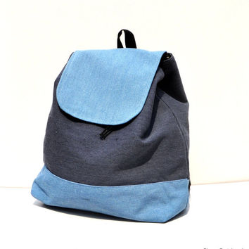 Quality New Zealand Canvas light blue navy bleu backpack   schoolbag canvas - Canvas backpack - patch backpack - bag for him - bag for her