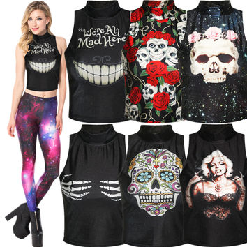 Novelty woman crop tops summer skull print rock roll fitness women turtleneck sleeveless shirt women's tanks blusas femininas 70